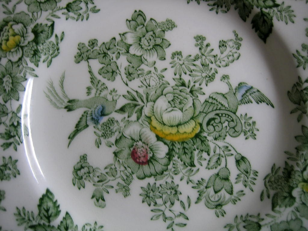 Green Toile Rose Exotic Bird Paris Chinoiserie Mini Plate Center www.DecorativeDishes.net