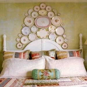 Shabby Cottage Chic Decorative Dish Headboard Display.
