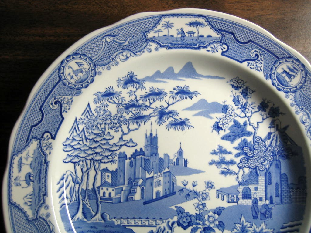 Blue White Transferware Chinoiserie Exotic Asian Castle Garden Plate Edge www.DecorativeDishes.net