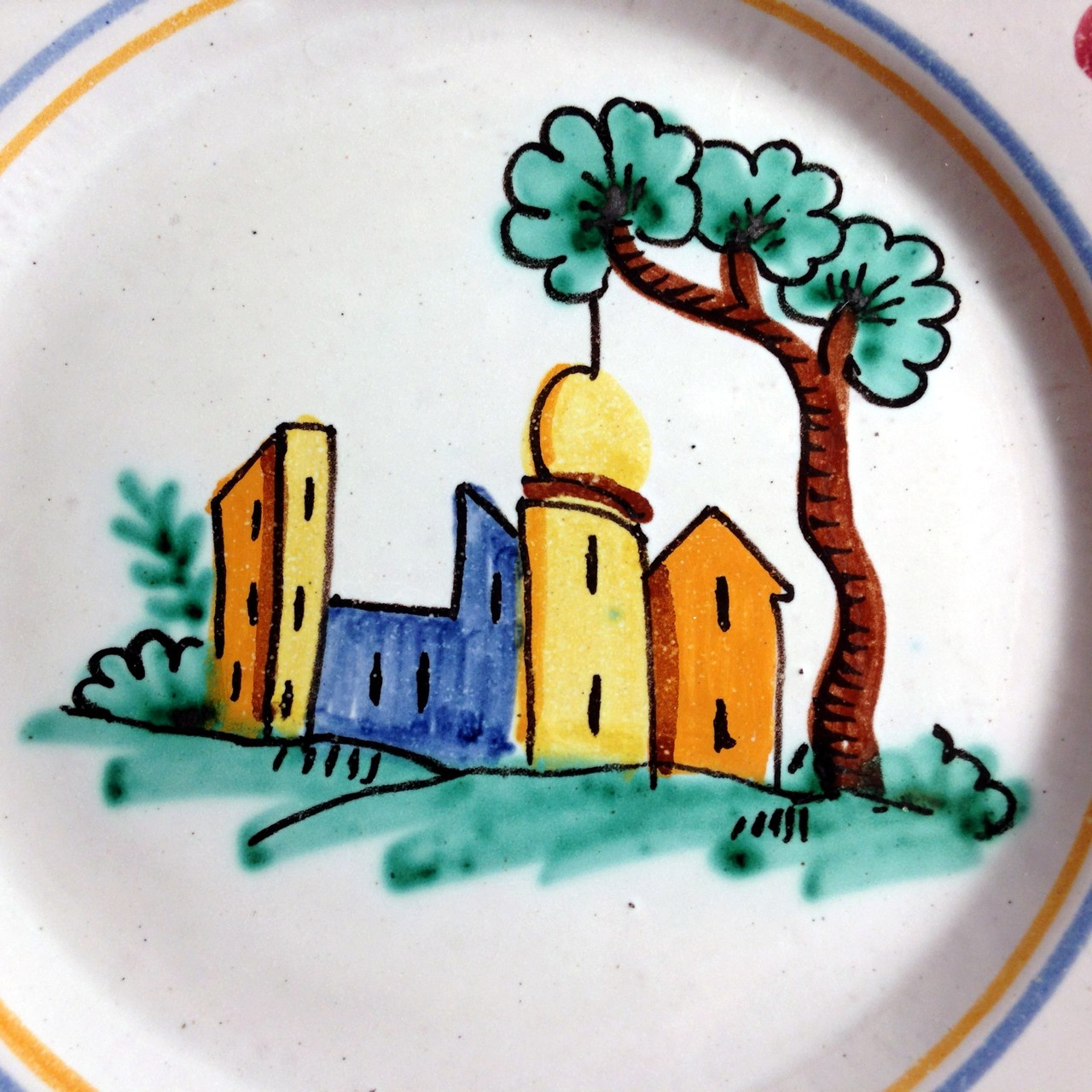 Hand Painted in Italy Italian Village Plate with Dots Edge www.DecorativeDishes.net