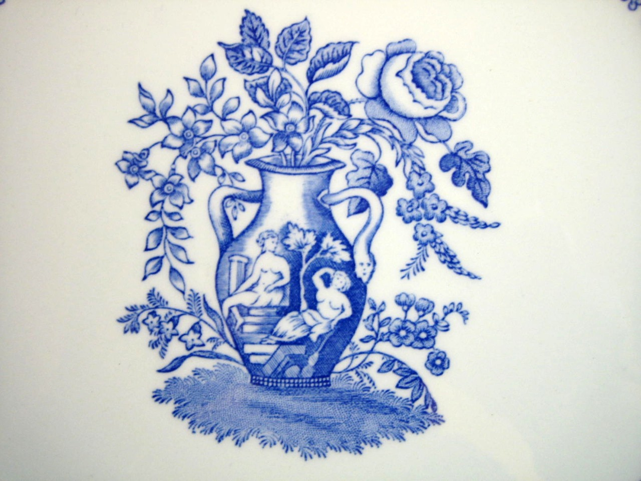 Blue Toile Transferware Grecian Urn Rose Zig Zag Large Plate Center www.DecorativeDishes.net