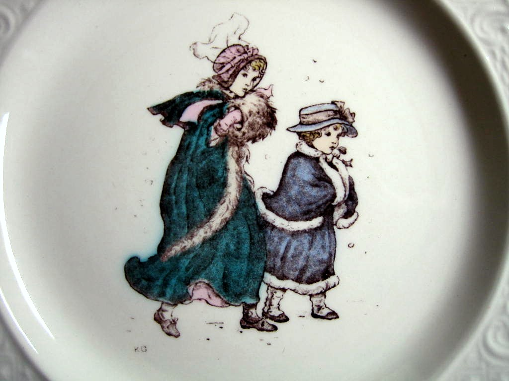 Vintage USA Winter Girls Kate Greenaway Square Scroll Edge Plate Center www.DecorativeDishes.net