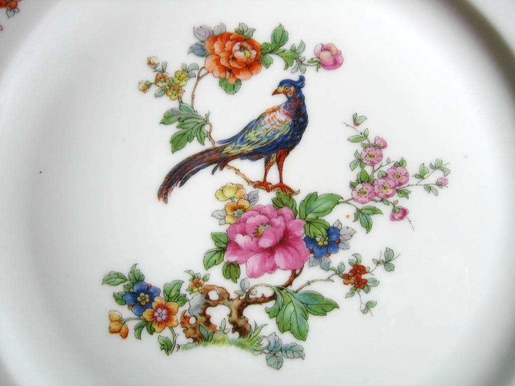 Vintage European Chinoiserie Exotic Bird Roses Large Decorative Plate Center www.DecorativeDishes.net