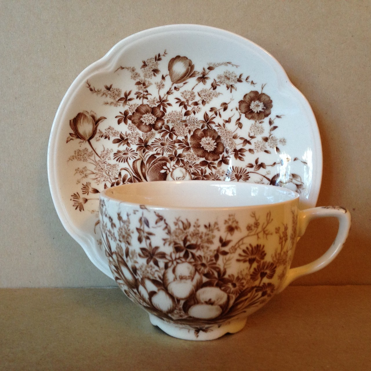 Brown Toile Transferware Tulip Vintage Cup and Saucer Center www.DecorativeDishes.net
