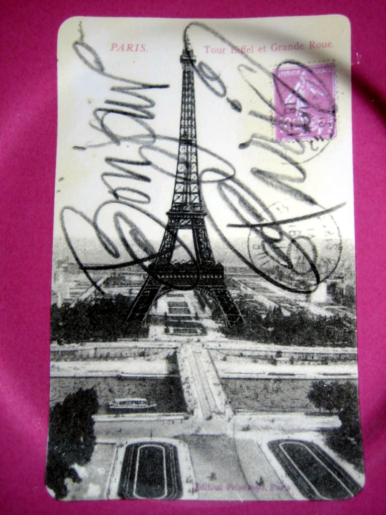 Vintage Paris Eiffel Tower Postcard Magenta Plate Script Rosanna Center www.DecorativeDishes.net