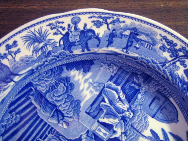 Blue Toile Transferware Exotic Animals Palm Temple Plate Edge www.DecorativeDishes.net