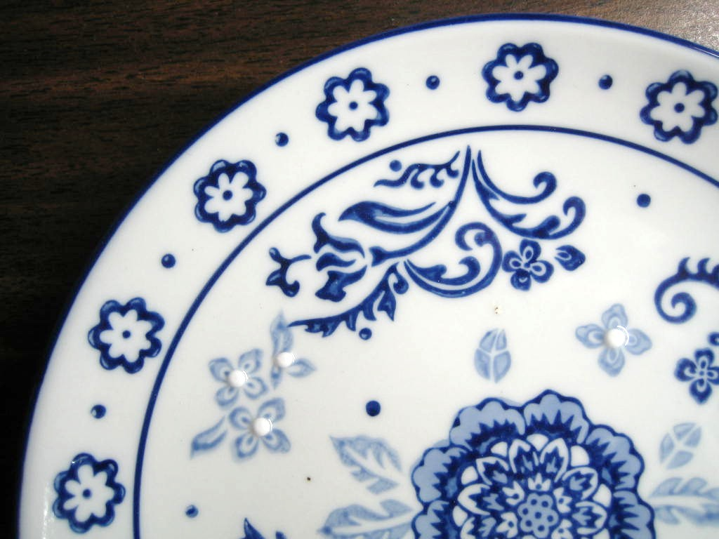 Cobalt Blue Exotic Chinoiserie Medallion Scroll Flower Edge Plate Edge www.DecorativeDishes.net