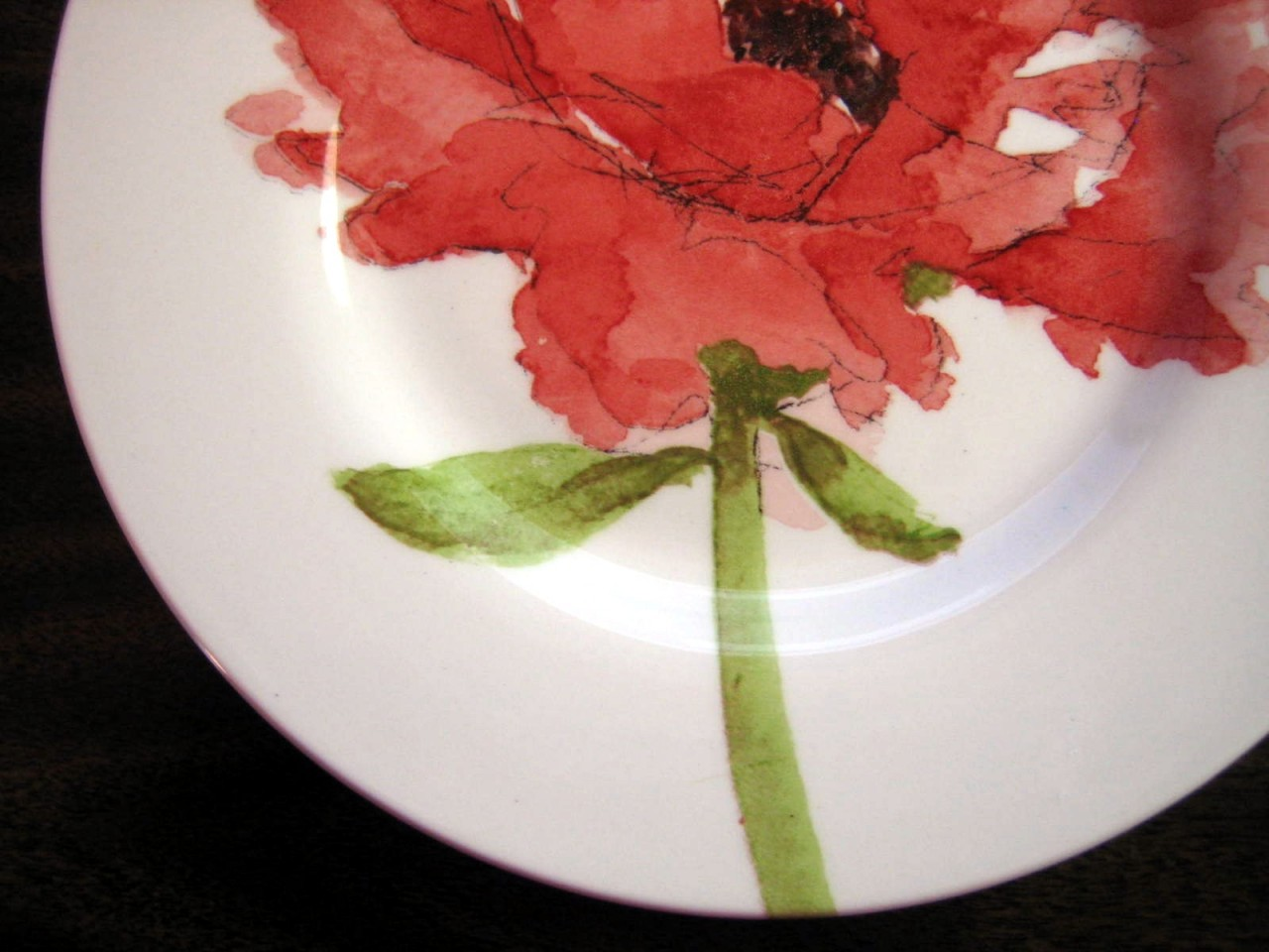 Bold Contemporary Urban Chic Soft Pink Red Flower White Plate Edge www.DecorativeDishes.net