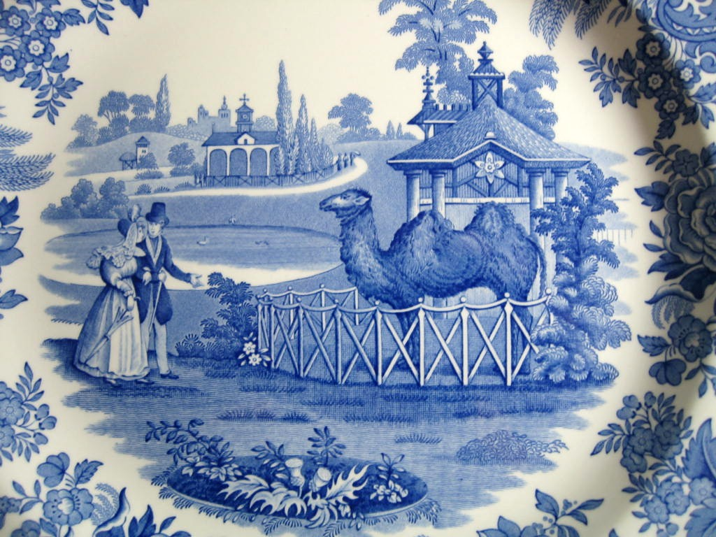 Blue White Transferware Toile Victorian Couple Zoo Camel Plate Center www.DecorativeDishes.net