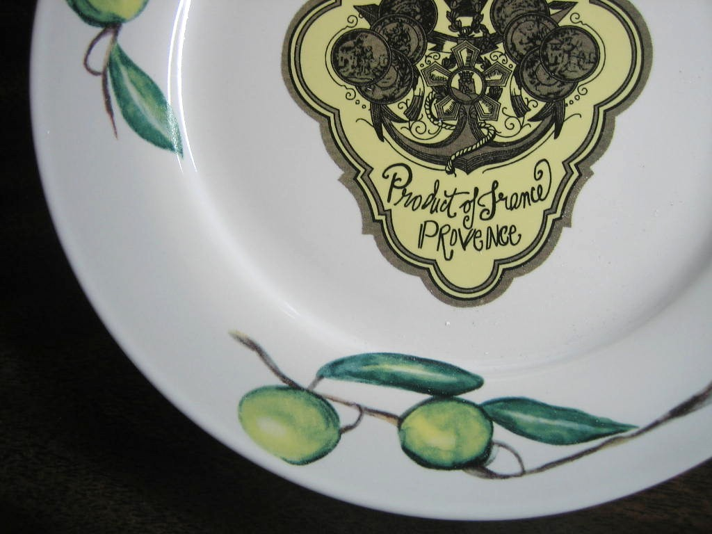 Vintage Olive Oil Label PROVENCE Green Olives Medium Plate Edge www.DecorativeDishes.net