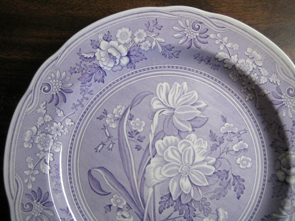 Lavender Purple Toile Transferware Daffodil Exotic Plate Edge www.DecorativeDishes.net