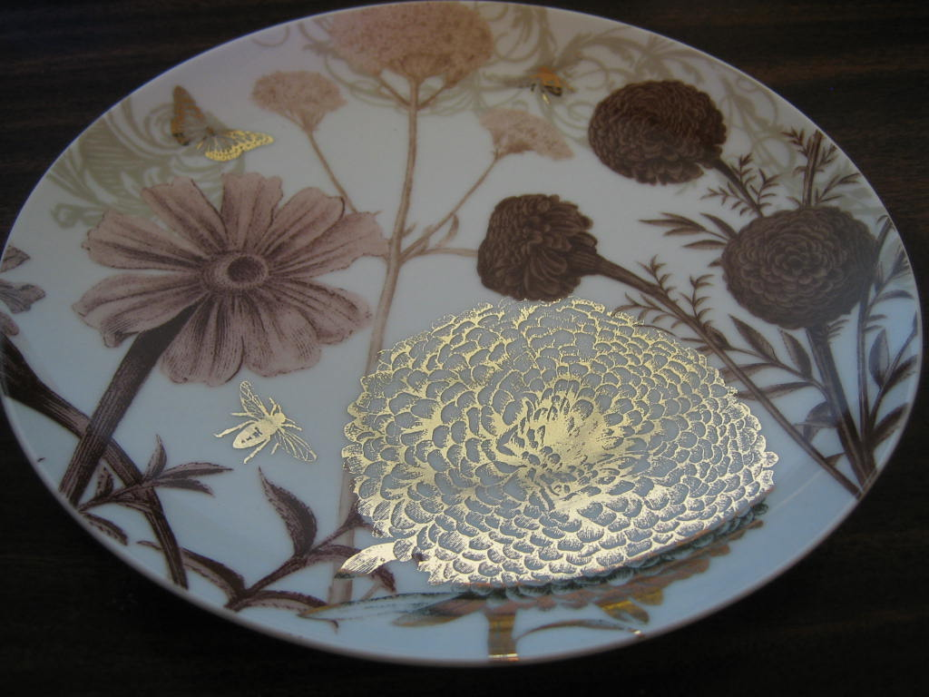 Sepia Taupe Brown Botanical Butterfly Bees Floral Shiny Gold Plate Edge www.DecorativeDishes.net