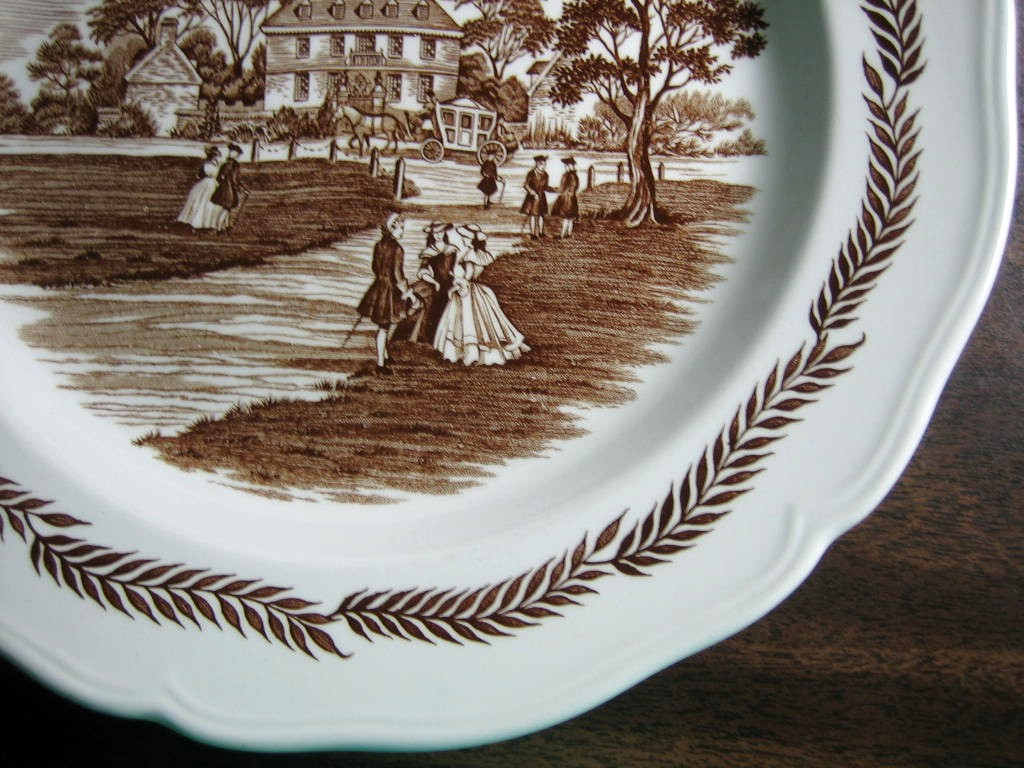 Brown Toile Transferware Colonial Couples Wheat Edge Plate Edge www.DecorativeDishes.net