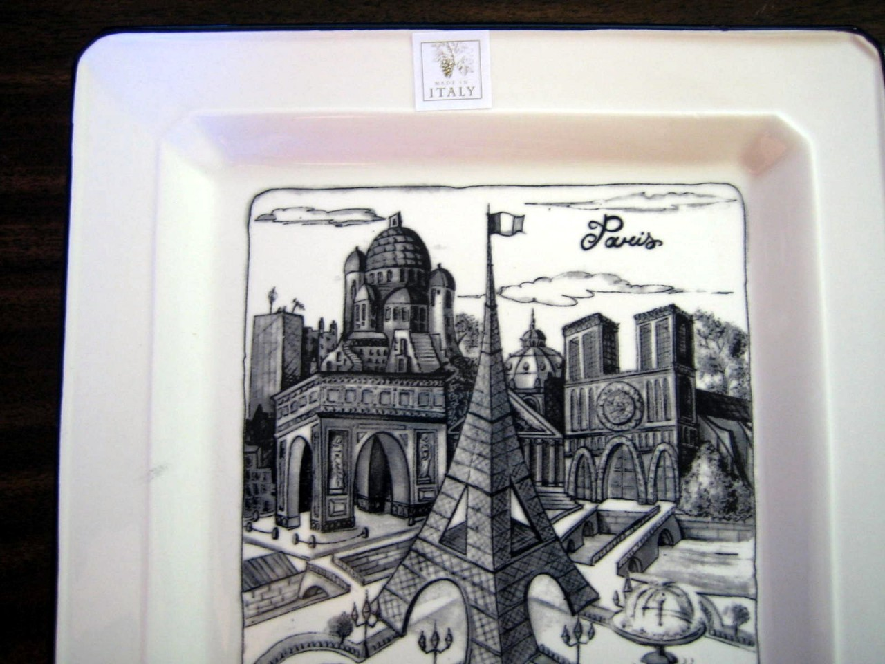 Illustrated Black Gray White Eiffel Tower Arch Paris Square Plate Edge www.DecorativeDishes.net