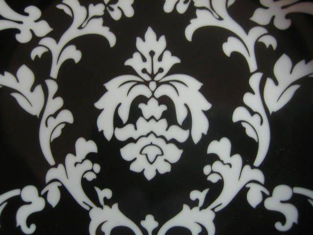 White on Black Damask Exotic Wallpaper Scroll Decorative Plate B Center www.DecorativeDishes.net