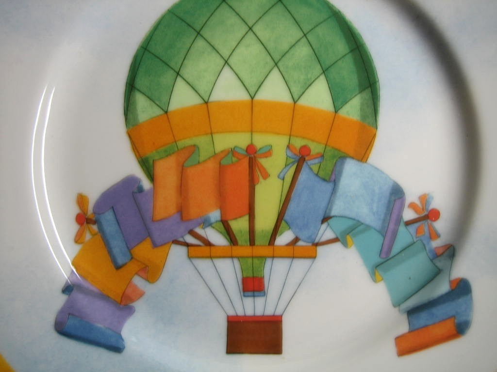 Whimsical Green Hot Air Balloon Flags Sky Gold Edge Plate Japan  Center www.DecorativeDishes.net