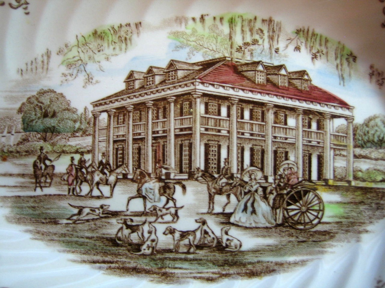 Brown Toile Southern Belle Spanish Moss Mansion Dogs Horse Small Oval Plate Center www.DecorativeDishes.net