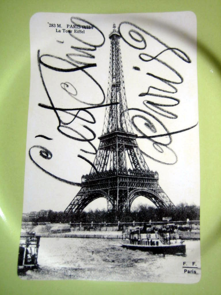 Vintage Paris Eiffel Tower Postcard Green Plate Script Rosanna Center www.DecorativeDishes.net