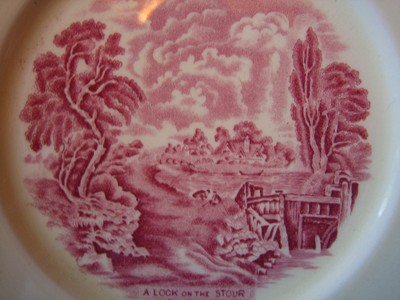 Red Pink OLD Shabby Toile River Bridge Plate M Center www.DecorativeDishes.net