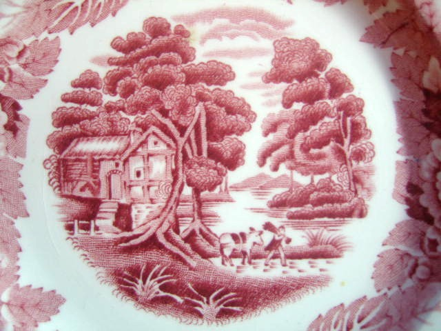 Red Pink Toile Cottage Peddler Donkey Plate S Center www.DecorativeDishes.net