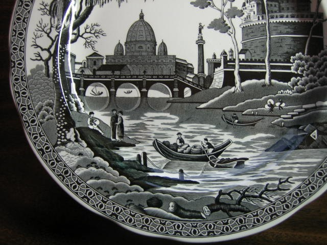 Black White Toile Exotic Palm River Temple Plate