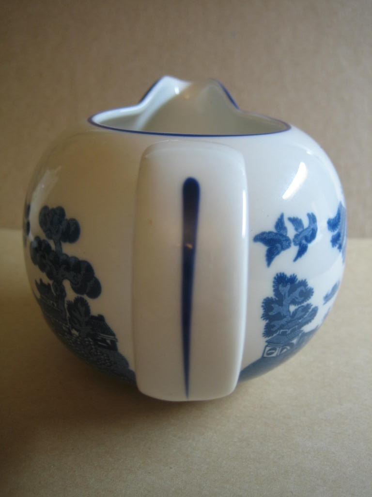 Decorative Small Pitcher - Blue White Chinoiserie Exotic Birds Cute Round Edge www.DecorativeDishes.net