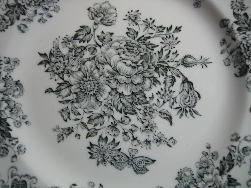 Black Grey Toile Butterfly Mum Poppy Bird Vintage Plate Large Center www.DecorativeDishes.net