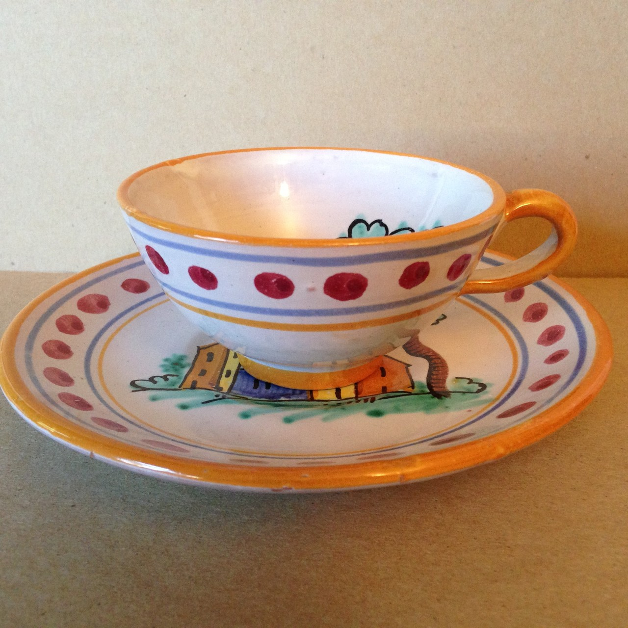 Hand Painted in Italy Warm Italian Village Cup & Saucer Dots Edge www.DecorativeDishes.net