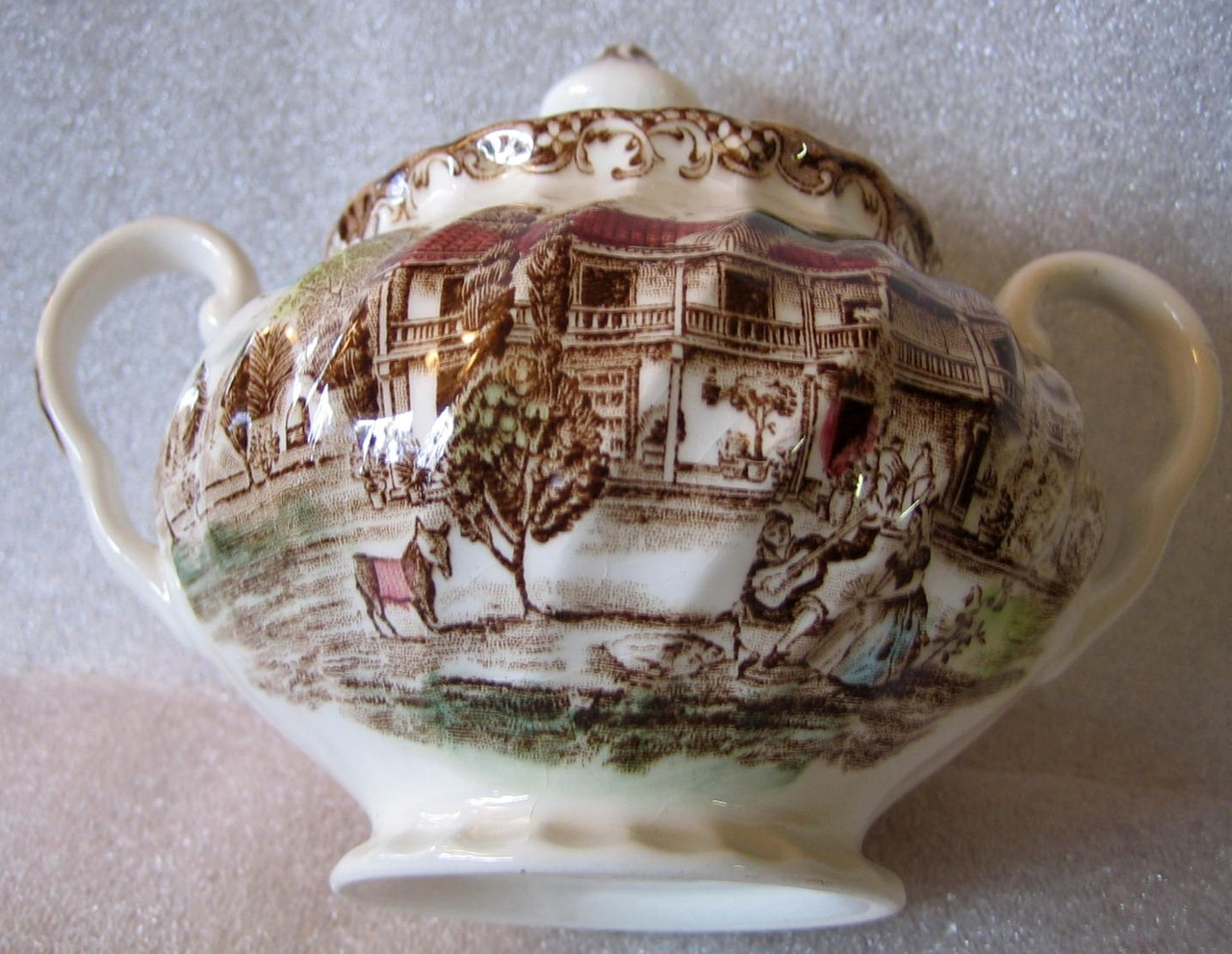 Brown Toile Hand Colored Hacienda Spanish Lady Guitar Donkey Lidded Bowl Center www.DecorativeDishes.net