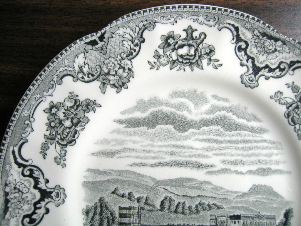 Black Gray Toile Transferware Castle Sky Roses Medium Plate Edge www.DecorativeDishes.net