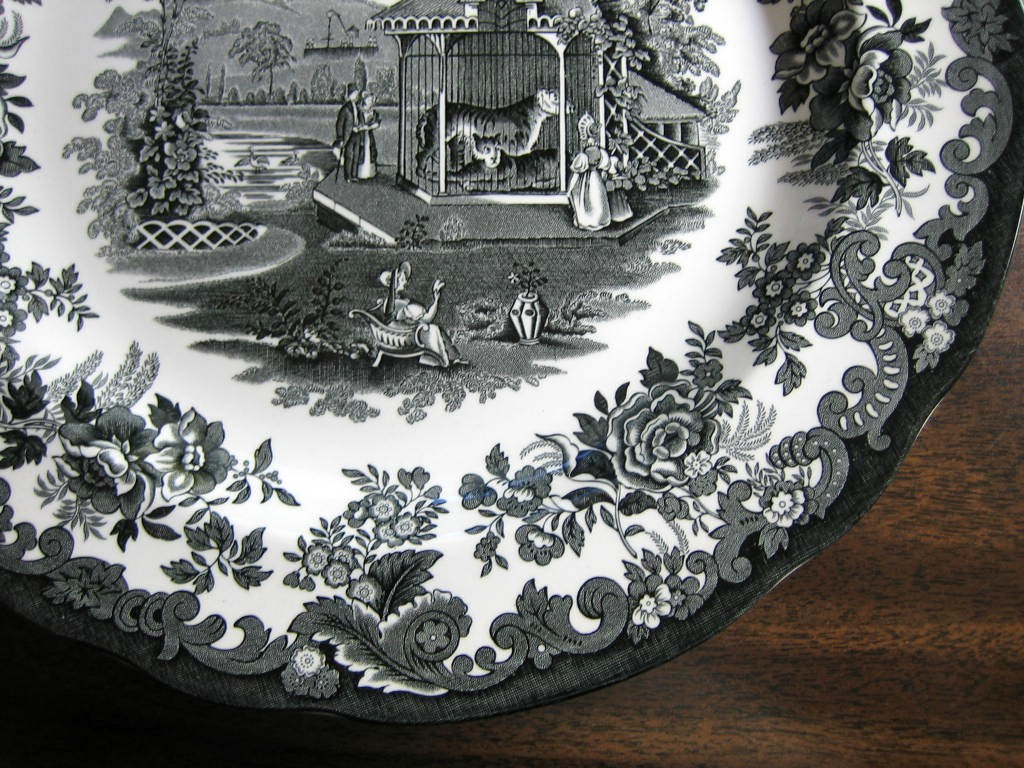 Black White Transferware Toile Victorian Zoo Tiger Plate  Edge www.DecorativeDishes.net