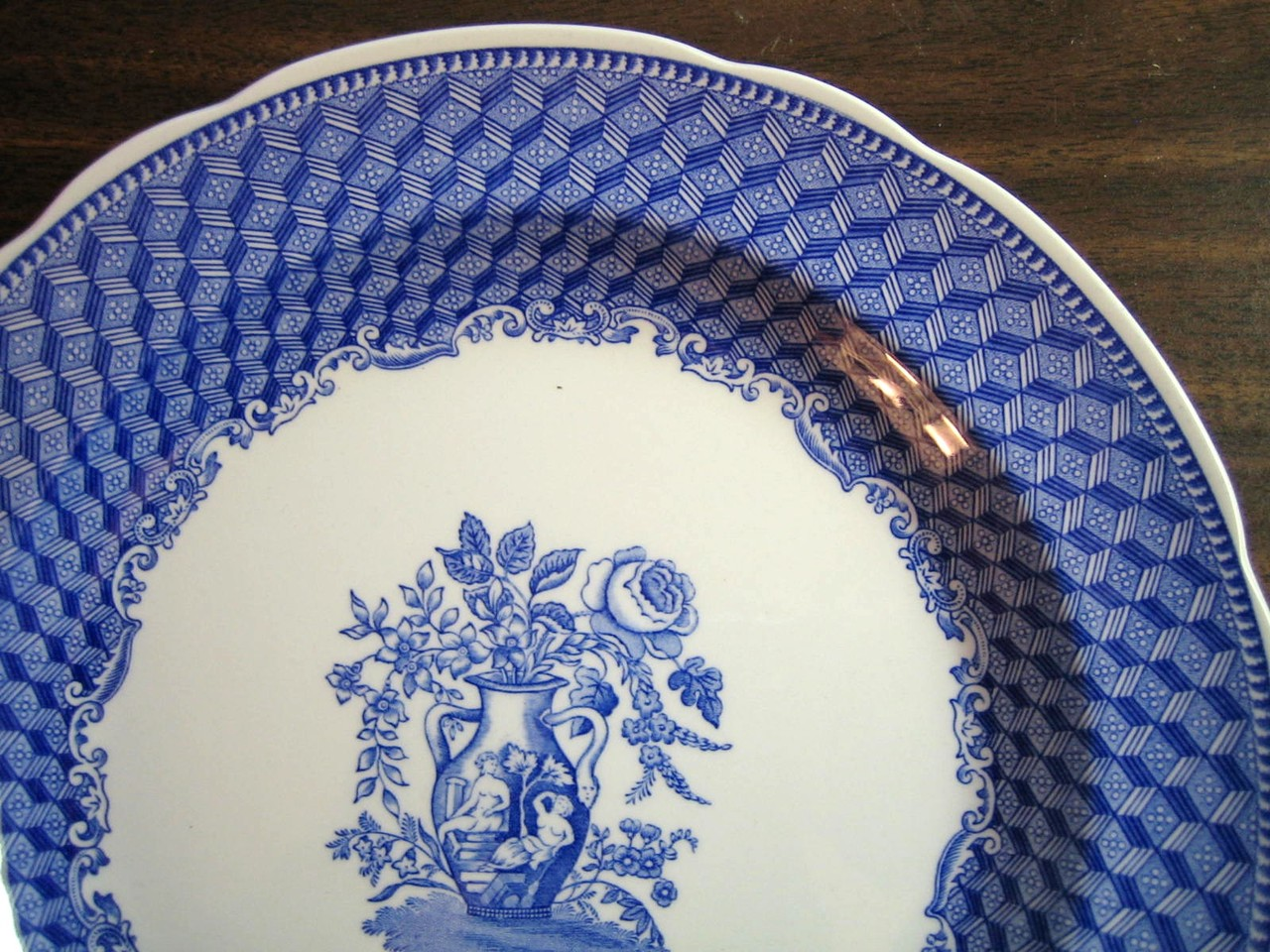 Blue Toile Transferware Grecian Urn Rose Zig Zag Large Plate Edge www.DecorativeDishes.net