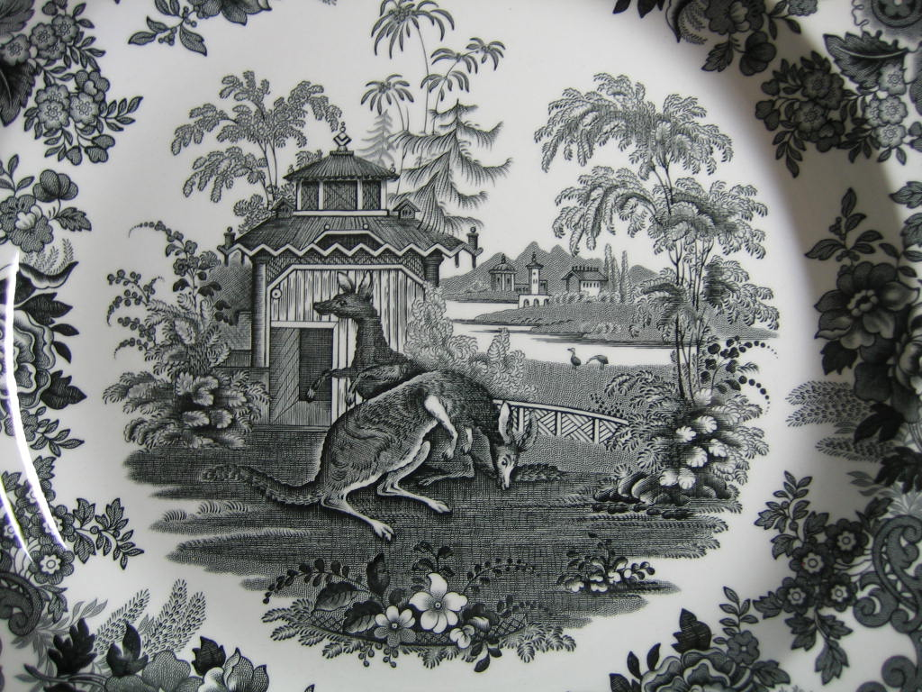 Black White Transferware Toile Victorian Zoo Kangaroo Plate 