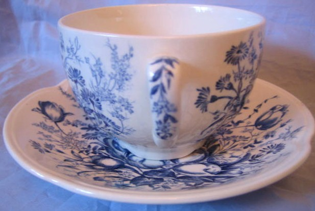 Blue Toile Transferware Tulip Vintage Cup and Saucer Edge www.DecorativeDishes.net