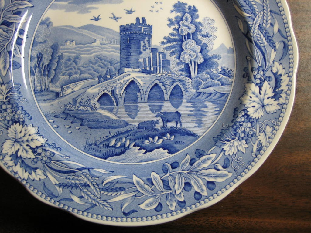 Blue Toile Transferware Tower Bridge Cows Berries Leaves Plate Edge www.DecorativeDishes.net