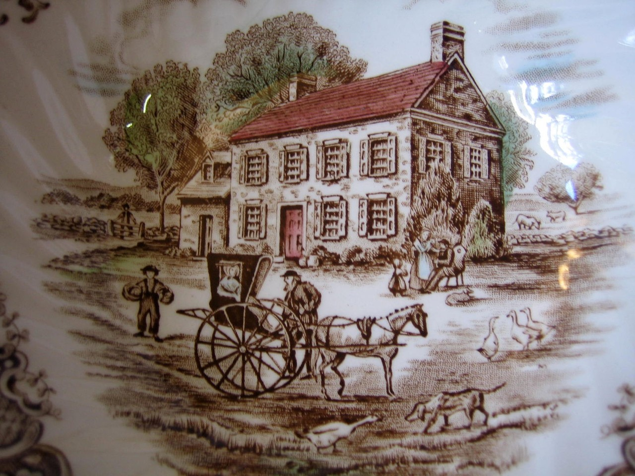 Brown Toile Pennsylvania Fieldstone Carriage Horse Dog Geese Bowl Center www.DecorativeDishes.net