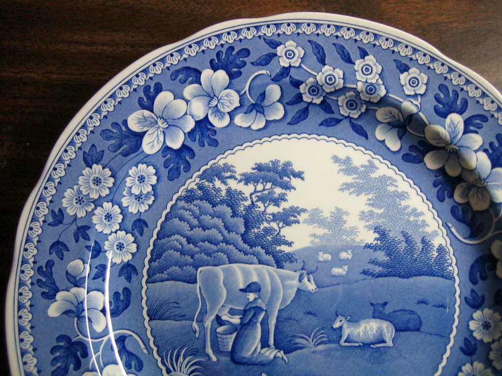 Blue Toile Transferware Milkmaid Cow Sheep Floral Edge Plate Edge www.DecorativeDishes.net