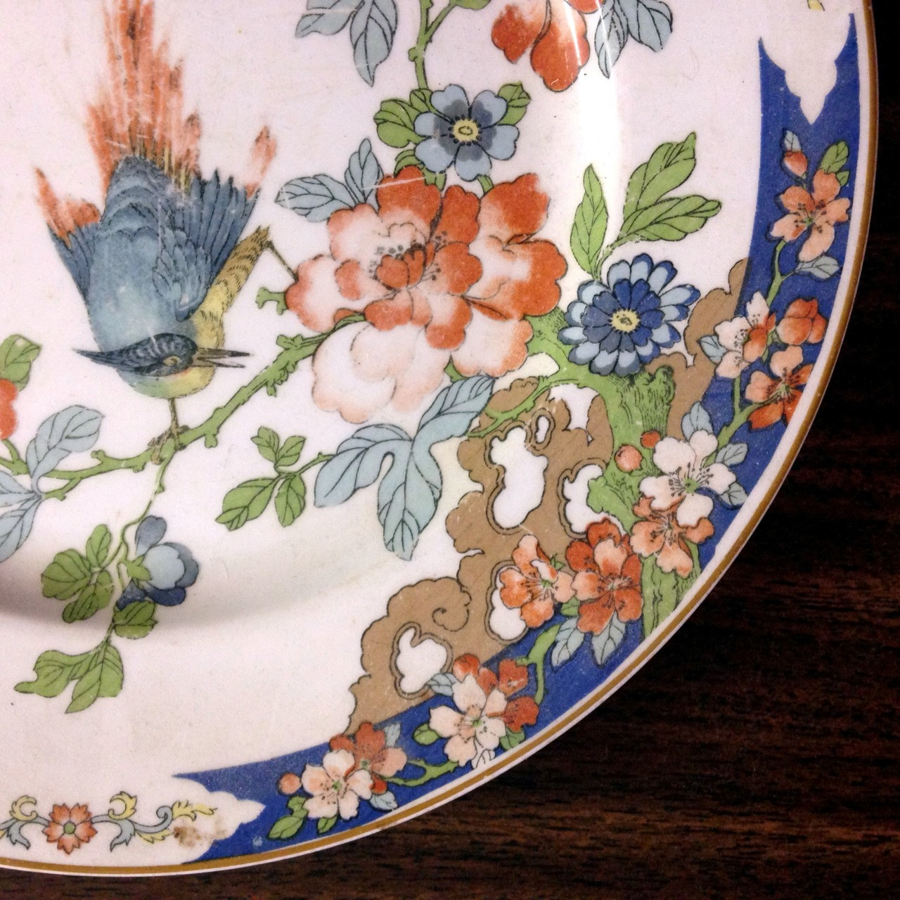 Antique 1912 Chinoiserie Shabby English Bird Floral Plate Edge www.DecorativeDishes.net