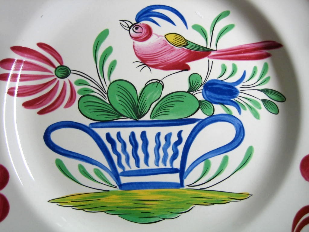 French Folk Art Pink Bird Blue Basket Cherries Edge Plate Center www.DecorativeDishes.net