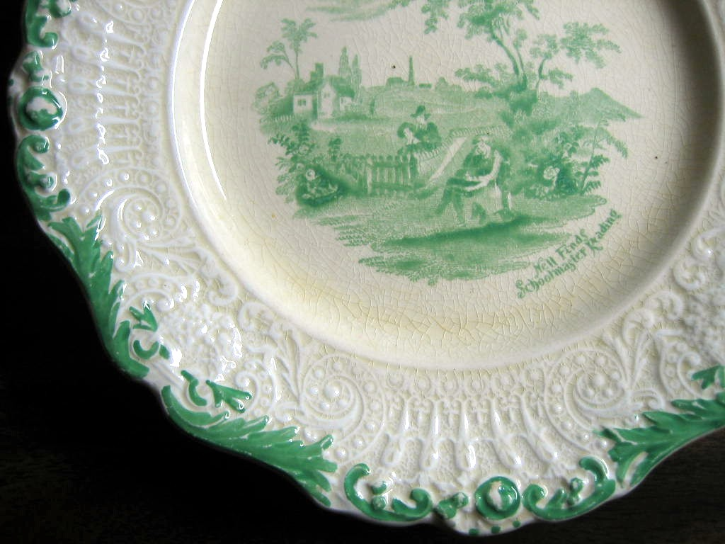 Shabby Green Cream Antique Toile Schoolmaster Textured Edge Plate M Edge www.DecorativeDishes.net