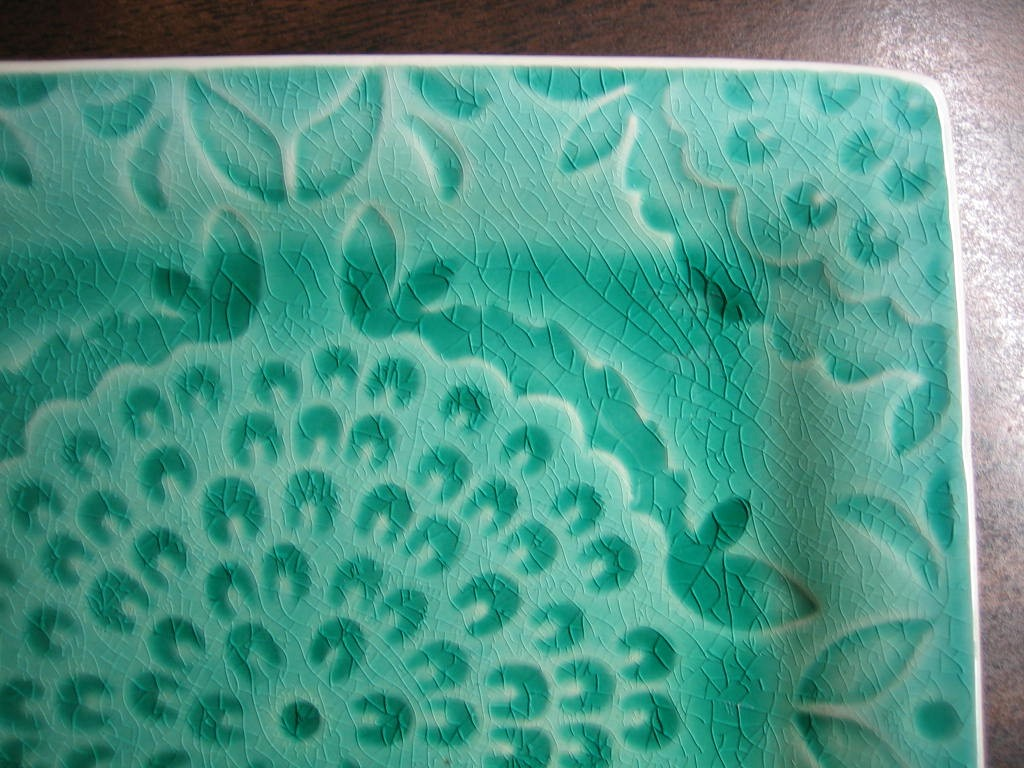 Green and Aqua Blue Medallion Burst Square Plate Tile Edge www.DecorativeDishes.net