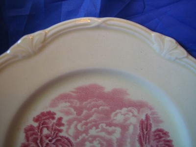 Red Pink OLD Shabby Toile River Bridge Plate M Edge www.DecorativeDishes.net