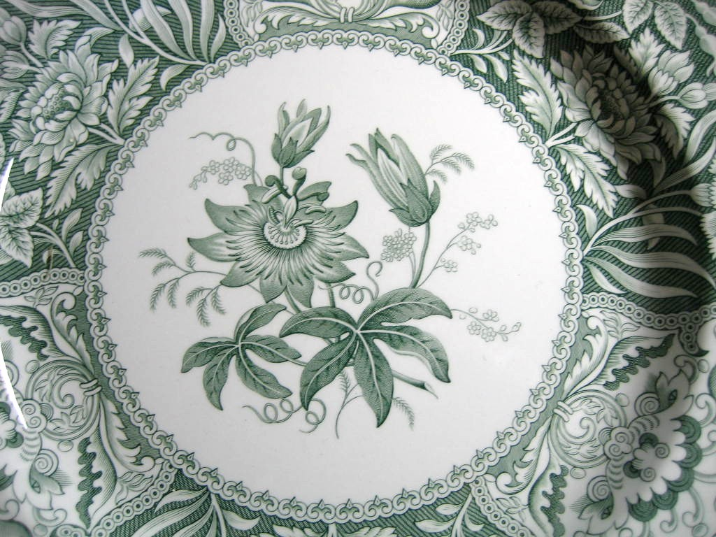 Hunter Green Toile Transferware Exotic Floral Plate Center www.DecorativeDishes.net
