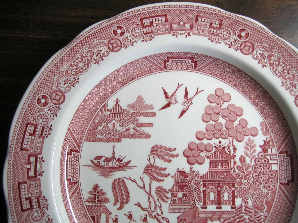 Pink Red Chinoiserie Exotic Bird Willow Plate Edge www.DecorativeDishes.net