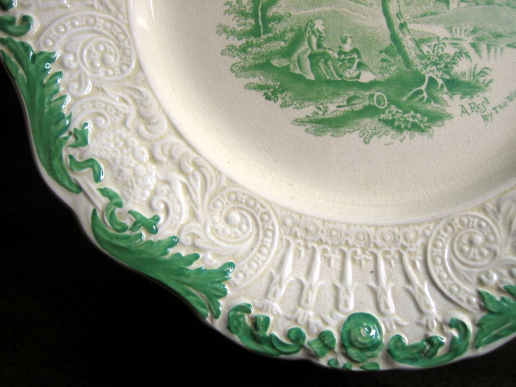 Shabby Green Cream Antique Toile Picnic Textured Edge Plate L Edge www.DecorativeDishes.net