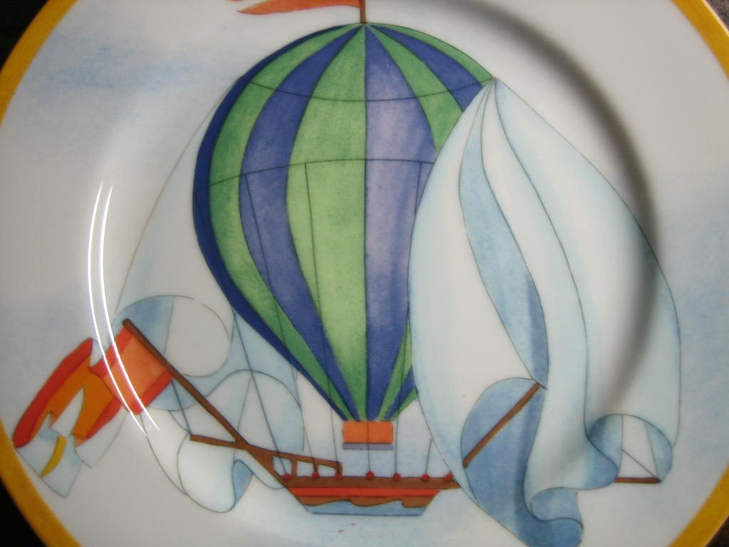 Whimsical Blue Green Hot Air Balloon Sky Gold Edge Plate Japan Center www.DecorativeDishes.net