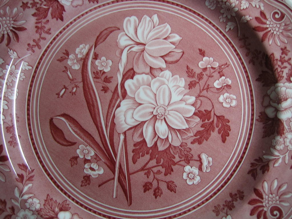 Red Pink Toile Transferware Daffodil Exotic Plate Center www.DecorativeDishes.net