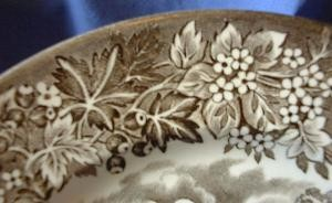 Brown Taupe Toile Transferware Boy Rowboat Mansion Vintage Plate S Edge www.DecorativeDishes.net