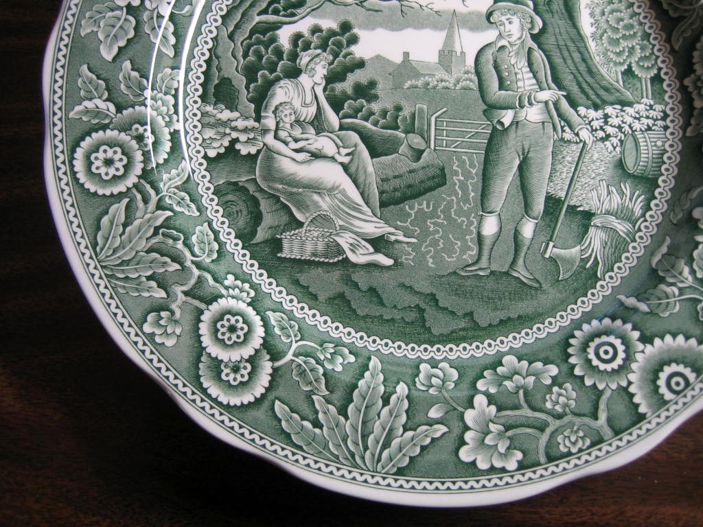 Hunter Green Toile Transferware Women Baby Calico Plate Edge www.DecorativeDishes.net