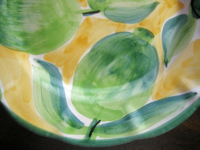 Made In Italy Bright Green Limes on Yellow Plate Edge www.DecorativeDishes.net
